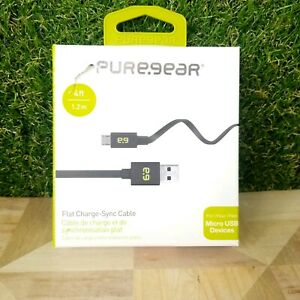 Brand New OEM PureGear 4Ft Micro USB 2.0 Flat Tangle Free Charge Sync Cable