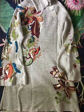 NEW Anthropologie Knitted & Knotted Embroidered floral swing dress Size SMALL
