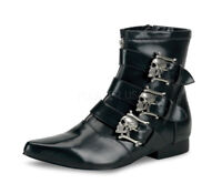 Demonia BROGUE-06 Men's Winklepicker Beatle Skull Buckle Goth Costume Ankle Boot