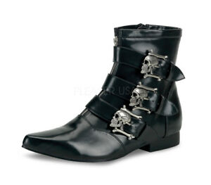 Demonia BROGUE-06 Men's Winklepicker Beatle Skull Buckle Goth Costume Ankle Boot