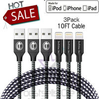 3Pack 10 Ft Lightning Cable Heavy Duty For Iphone xr iPhone x plus Charger  Cord