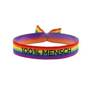 100% Mensch Armband CSD Pride LGBT Regenbogen Gay Festival Bändchen LGBTQ