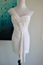 bebe Dress Stretch Bodycon -Full Ruched-One Shoulder- White Color -S