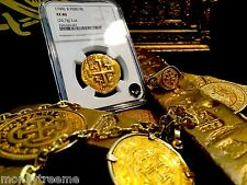 """PERU 8 ESCUDOS 1749 """"SHIPWRECK SENORA DE LA LUZ"""" GOLD DOUBLOON NGC 40 COB  COIN"""