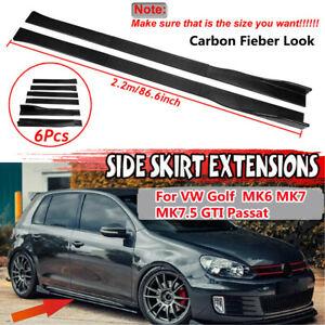 2.2m Carbon Look Side Skirt Splitter For VW Golf MK6 MK 7 7.5 GTI R CC Caravelle