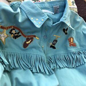 Womens Las Olas Aqua  Embroidered Fringe Western Shirt  Cowboy Boots/ Hats sz L