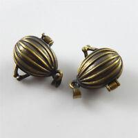 Vintage Bronze Alloy Jewelry Making 19x13x13mm Cage Locket Pendants Charms 3pcs