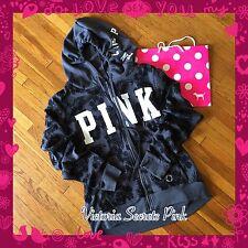 New VICTORIA'S SECRET Pink Full Zip Hoodie Hibiscus Palm High Low NLA Sz Large