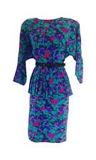Vintage Floral Print Long Sleeve Peplum Dress Size 8 M/L