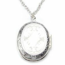 "Silver Plated Oval Photo Picture Locket Pendant Necklace 2x1.5"" S9"