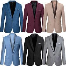 Mens Fashion Smart Slim Fit Formal Casual One Button Suit Blazer Coat Jacket Top