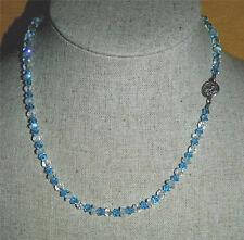 Faceted Swarovski Crystal in Light Blue & White Quartz Stone Beaded Necklace