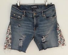 Women's SPORTSGIRL distressed blue floral denim cutoff jean shorts size 10