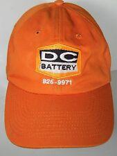 DC BATTERY 862-9971 SEDALIA MISSOURI Advertising ORANGE Adjustable Hat Cap