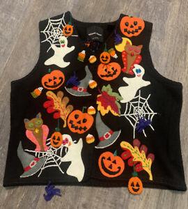 Rare MICHAEL SIMON 1998 Event HALLOWEEN Sweater Vest Sz L Excellent Vintage
