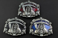 GRIM REAPER BELT BUCKLE MEMENTO MORI SKULL METAL RED BLUE BLACK DARK GOTHIC