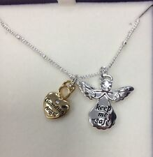 Equilibrium Guardian Angel NECKLACE 2 charm pendant silver KEEP ME SAFE gift box