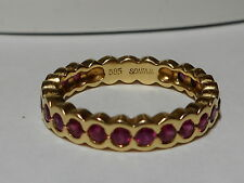 Sonia B Designer 14kt yellow gold Ruby Eternity Band Ring Size 8