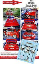 Decals 1/43 réf 591 Peugeot  206 WRC Robert - Bedon Allemagne 2003