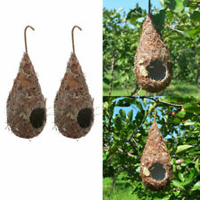 2 Pack Hanging Bird House Birdhouse Hummingbird Nest Fiber Hand-Woven Roosting