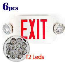 6Pcs LED Exit Sign & Emergency Light RED Compact Combo Lighting UL924 EL2BR6