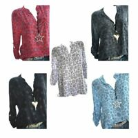Women Long Sleeve V-Neck Blouse Floral Print Loose Tunic Tops T-Shirt S-5XL