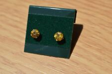 0.90ct Sparkling Golden Yellow Sphene Solitaire Earrings in 14K Yellow Gold