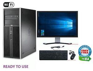 """HP Desktop Computer 16GB 2TB HD 256GB SSD Quad Core i5 Windows 10 PC 22"""" LCD"""