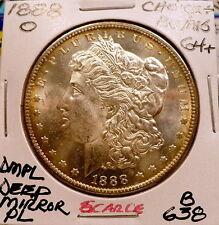 1888-O MORGAN SILVER DOLLAR CHOICE+ BU/MS DMPL-SCARCE, BETER DATE NICE+ B638