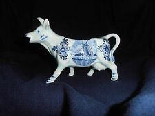 Vintage Blue Decorated Cow Creamer ~ Holland ~ DBL Crown ~ Excellent Condition