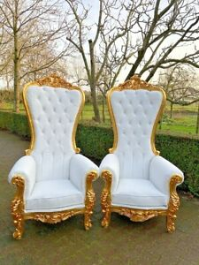 Baroque Style Throne Chairs in Tufted White Leather- a Pair