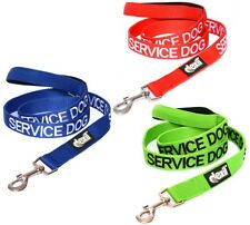 SERVICE DOG Lead Leash 2 4 6 Foot Padded Handle Double Layered Blue Green Red