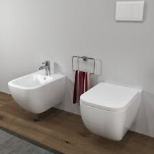 Sanitari bagno SOSPESI in ceramica filomuro VASO WC, COPRIVASO SOFTCLOSE e BIDET