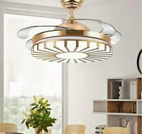 Modern Gold Invisible Ceiling Fan Light Home Chandelier Pendant LED Lamp 42""