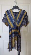 Iska London Blue Yellow White Striped Paisley Filigree Kimono Dress 10 NWT
