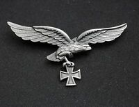 WW2 GERMAN LUFTWAFFE MILITARY CAP SILVER BADGE EAGLE IRON CROSS