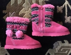 NEW Canyon River Blues toddler sz 10 girls pink black faux fur mid-calf boot W@W