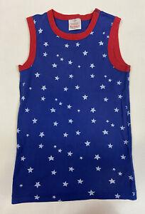 Hanna Andersson Pajama Top 150 12 Blue Red White Star Print Sleeveless Organic
