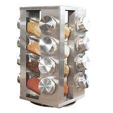NUOVA in acciaio 16 BARATTOLI Portaspezie Girevole Stand GIOSTRA rotante in vetro