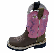 Kids Geniune Leather Western Cowboy Rodeo Square Toe Pull Up Closure Boots-721