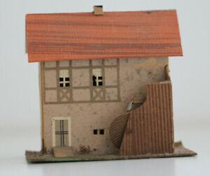 altes Haus Mühle in Pappe Bauweise  Erzgebirge Spur S H0 Handbemalt
