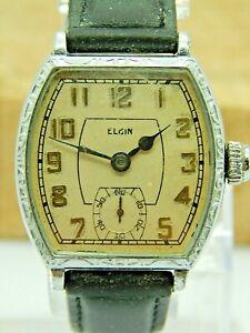 Vintage Antique Gents Nickel art deco elgin wrist watch circa 1932 7J gr 462 m 2