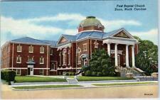 DUNN, North Carolina NC   FIRST BAPTIST CHURCH  c1940s Linen Postcard