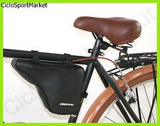 Borsello Spallaccio Borsetta per bici telaio UOMO Vintage in eco pelle - Nero