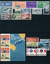 Tema Avion. Tres fichas conteniendo 40 sellos y 1 Hoja Bloque del Tema aviación