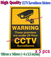 5pcs CCTV Security Camera Surveillance 24 Hour Warning Stickers / Signs / Notice