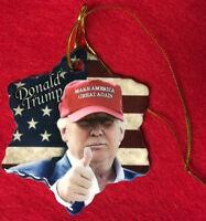 DONALD TRUMP MAKE AMERICA GREAT AGAIN PORCELAIN CHRISTMAS ORNAMENT NEW