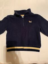 Boys JANIE & JACK LS Navy Fleece 1/2 Zip Top Yellow Stripe Dog Outerwear 2T EUC
