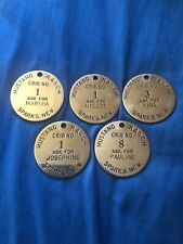 5 Vintage Mustang Ranch Brothel Tokens Marsha,Josephine,melody,P auline And Tina!