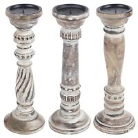 Shabby Chic Wooden Candle Holder Pillar Stick Rustic Vintage Decor Church Home